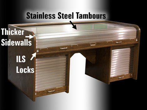 Stainless Steel Tambour Option For Sxext Ii And Rtcus Ii Desks By