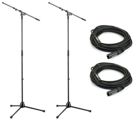 K&M 210/9-PK2-K 210/9 Microphone Stand Bundle with (2) 210/9 Microphone Stands and (2) Heavy Duty XLR Microphone Cables 210/9-PK2-K