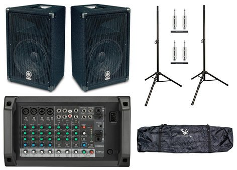 Yamaha EMX2-BR12-SYS1-K Powered Mixer Bundle with Powered Mixer, Passive Speakers, Stands, Cables EMX2-BR12-SYS1-K