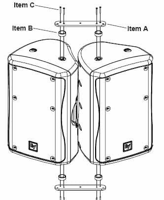 Electro-Voice CB5-B Array Bracket Kit for Two EV ZX5 Loudspeakers, Black Finish CB5-B