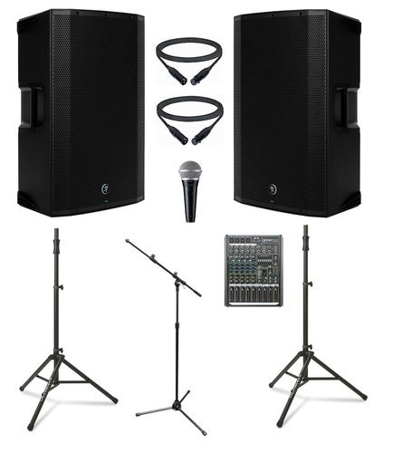 """Mackie THUMP-15A-DUAL-4-K  Mackie Active 15"""" Speaker Bundle with Mixer, Microphone, Cables, and Stands THUMP-15A-DUAL-4-K"""