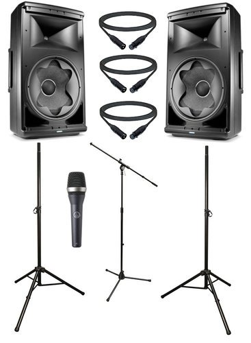 jbl active 12 speaker bundle with microphone stands and cables by jbl eon 612 dual 3 k. Black Bedroom Furniture Sets. Home Design Ideas