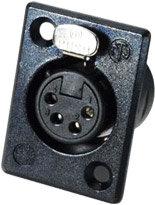 Neutrik NC4FP-BAG-1 4-Pin Female XLR Rectangular Panel Connector, Black, Silver Contacts NC4FP-BAG-1