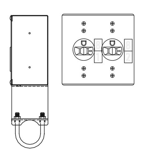 ETC 9102A-U Outlet Box, Surface, 2 Single Edison W/ U-Bolt Kit