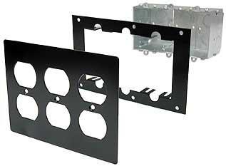 Ace Backstage FP3E Triple Duplex Switch Box, Steel Mounting Panel, Aluminum Triple Duplex Cover FP3E