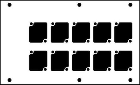 Ace Backstage Co. PNL-1210 Aluminum Stage Pocket Panel, Black, with 10 Connectrix Mounts PNL-1210