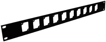 Ace Backstage Co. RPL110 Aluminum Rack Panel, 1 RU, Black, 10 Connectrix Connectors RPL110