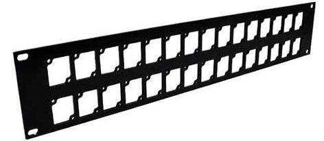 Ace Backstage Co. RPL230 Aluminum Rack Panel, 2 RU, Black, Mounts 30 Connectrix Connectors RPL230