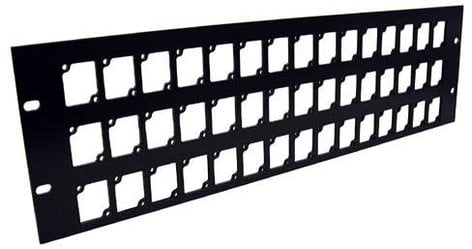 Ace Backstage RPL345 Aluminum Rack Panel, 3 RU, Black, Mounts 45 Connectrix Connectors RPL345
