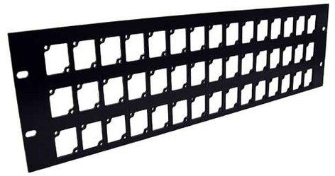 Ace Backstage Co. RPL345 Aluminum Rack Panel, 3 RU, Black, Mounts 45 Connectrix Connectors RPL345