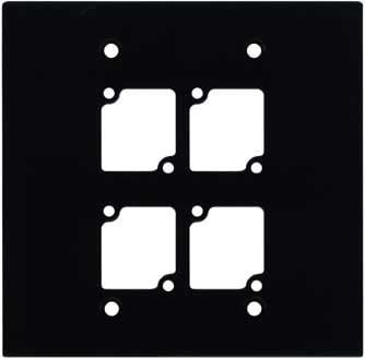 Ace Backstage WP-204 Double Gang Wall Panel with 4 Connectrix Mounts, Black WP204