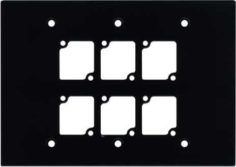 Ace Backstage Co. WP-306 Triple Gang Wall Panel with 6 Connectrix Mounts, Black WP306