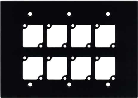 Ace Backstage Co. WP-308 Triple Gang Wall Panel with 8 Connectrix Mounts, Black WP308