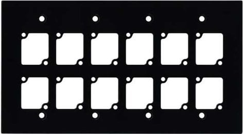 Ace Backstage WP4012 Wall Panel, Four Gang, Black, with 12 Connectrix Mounts WP4012