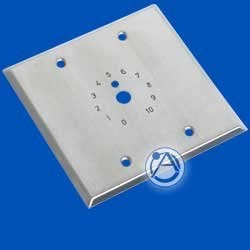 "Atlas Sound HX25-2 Double Gang S/S Plate, Dial Scale Stamped and Paint Filler, 3/8"" Center Hole, 4.5"" x 4.5"" HX25-2"