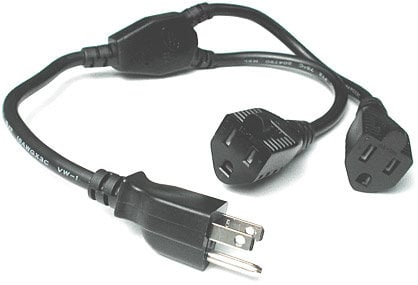 Hosa YAC-407 Power Y-Cable, 3-Prong Male to 2 x 3-Prong Females, 18 AWG (1.5 Feet) YAC407