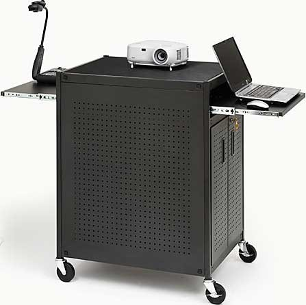 "Bretford Manufacturing TC15FF-BK Presentation Cart with Cabinet, 32"" x 24"" x 42"", 4 Outlets TC15FF-BK"
