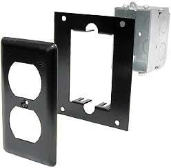 Ace Backstage PE Electic Duplex Switch Box, Steel Mounting Panel, Steel Narrow Duplex Cover PE
