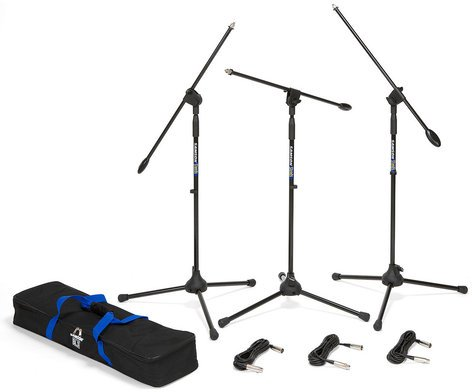 Samson BL3VP Boom Microphone Stand and 18 ft XLR Cable 3-Pack with Carry Bag BL3-VP