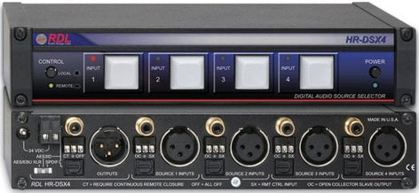 Radio Design Labs HR-DSX4 4x1 Digital Audio Selector, S/PDIF HRDSX4
