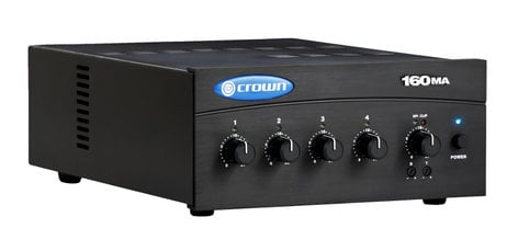 Crown 160MA 4-Channel 60W Mixer/Amplifier with 70/100V and 8 Ohm Outputs 160MA