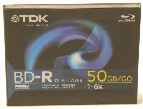 TDK Tape BDR50A 50GB BD-R Data Disc in Jewel Case with 2x Write Speed BDR50A