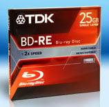 TDK Tape BDRE25A  Blu-Ray 25GB 2x BD-RE Jewel Case BDRE25A