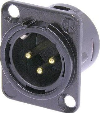 Neutrik NC3MD-L-B-1 3-Pole Male XLR Chassis Connector in Black with Solder Cups, Metal Housing, and Gold Contacts NC3MDL-B-1