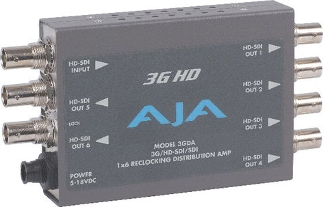 AJA Video Systems Inc 3GDA 1x6 SD/HD/3G-SDI Reclocking Distribution Amplifier with Power Supply 3GDA