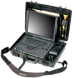 Pelican Cases PC1490CC1-BLACK Black Deluxe Notebook Computer Case with Lid Organizer & Shock Absorbing Tray PC1490CC1-BLACK