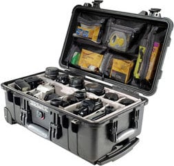 Pelican Cases PC1514 1510 Carry-On Case with Padded Dividers in Black PC1514
