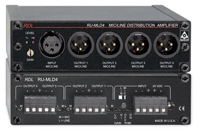 Radio Design Labs RU-MLD4T 1x4 Microphone/Line Distribution Amplifier with Transformer RUMLD4T