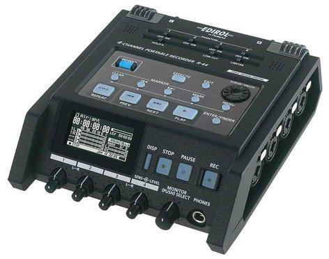 Roland R44-ROLAND 4-Channel Portable WAV/MP3 Recorder, SDHC, 24-bit/96kHz R44-ROLAND