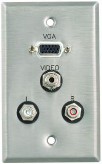 Pro Co WPE004 Plateworks Single-Gang Stainless Steel Engraved Wall Plate with 1x VGA, 3x RCA Connectors WPE004