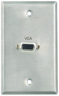 Pro Co WPE019 Plateworks Single-Gang Stainless Steel Engraved Wall Plate with 1x VGA Pass-Thru WPE019