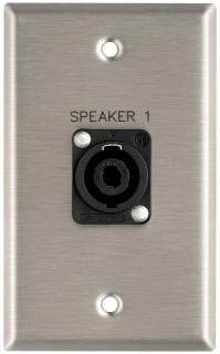 "Pro Co WPE135 Plateworks Single-Gang Stainless Steel Engraved Wall Plate with 1x Speakon NL4MP: ""Speaker 1"" WPE135"