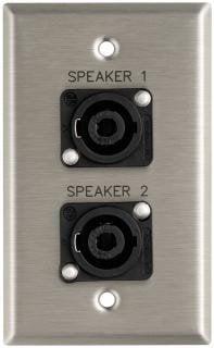 "Pro Co WPE147 Plateworks Single-Gang Stainless Steel Engraved Wall Plate with 2x Speakon NL4MPs: ""Speaker 1"" & ""Speaker 2"" WPE147"