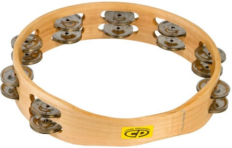 """Latin Percussion CP390 10"""" CP Wood Tambourine with Double Row of Jingles CP390"""