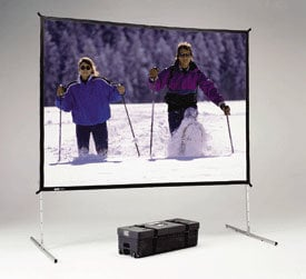Da-Lite 88705HD 10.5' x 14' Fast-Fold® Deluxe Truss Frame Dual Vision Projection Screen with Heavy Duty Legs 88705HD