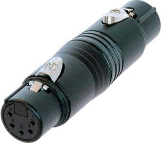 Neutrik NA5FF-B 5-Pin XLR-F to 5-Pin XLR-F Wired Gender Adapter (Black) NA5FF-B