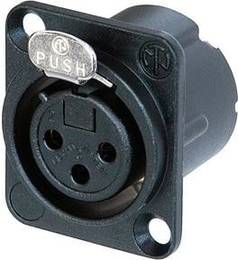Neutrik NC3FD-LX-B  3-Pin DLX Series Female XLR Receptacle (Solder Cups, Black Metal Housing, Gold Contacts) NC3FD-LX-B
