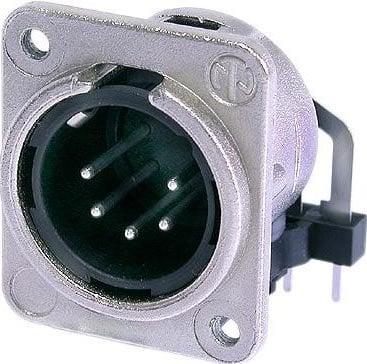Neutrik NC5MDM3-H  5-pin Male XLR Panel Mount Receptacle (Nickel Housing, Silver Contacts) NC5MDM3-H