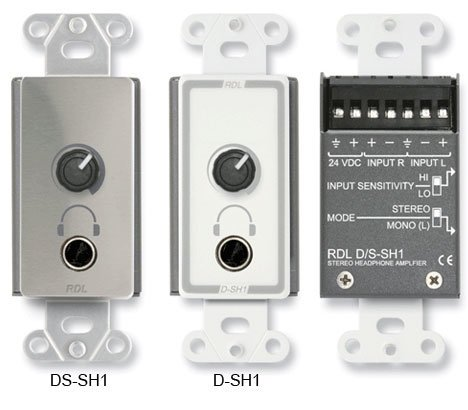 "RDL DS-SH1 Stainless Steel 1/4"" TRS Stereo Headphone Amplifier Decora Panel DS-SH1"