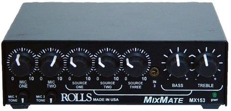 Rolls MX153 Mix Mate 2x XLR(Mic), 3x RCA (Stereo Source) Mixer with Ducking MX153