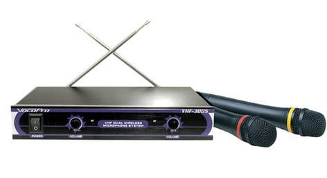 VocoPro VHF-3005 Dual-Channel Wireless System with 2 Handheld Microphones VHF-3005