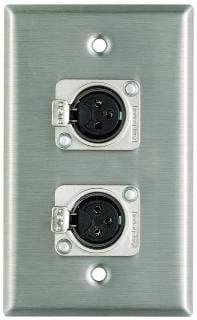 Pro Co WP1013 Plateworks Single-Gang Stainless Steel Wall Plate with 2x XLR-F Connectors WP1013