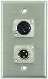 Pro Co WP1066 Plateworks Single-Gang Stainless Steel Wall Plate with 1x XLR-F, 1x XLR-M Connector WP1066