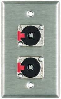 "Pro Co WP1007 Plateworks Single-Gang Stainless Steel Wall Plate with 2x Latching 1/4"" TRS Jacks WP1007"