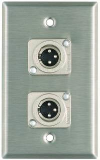 Pro Co WP1008 Plateworks Single-Gang Stainless Steel Wall Plate with 2x XLR-M Jacks WP1008
