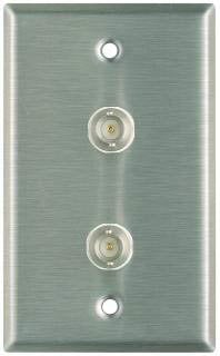 Pro Co WP1020 Plateworks Single-Gang Stainless Steel Wall Plate with 2x BNC Feed Thru Connectors WP1020